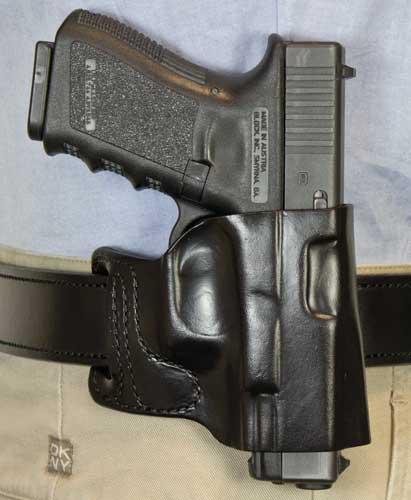 DESANTIS E-GAT SLIDE HOLSTER OWB RH Leather SIG P365 BLACK